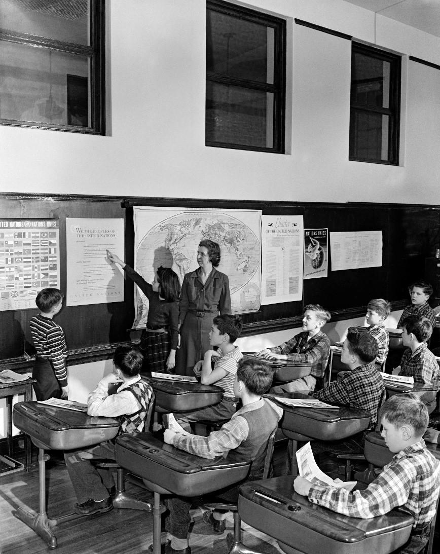 Undervisning i menneskerettigheder har altid været en vigtig del af UNESCO-skolernes arbejde. Her ses det på en tysk skole.
